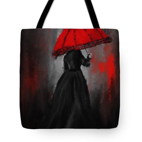 Victorian Lady With Parasol Tote Bag by Lourry Legarde