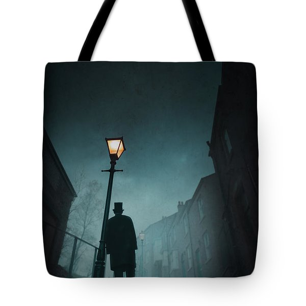 Victorian Man With Top Hat Leaning On A Street Light Tote Bag by Lee Avison