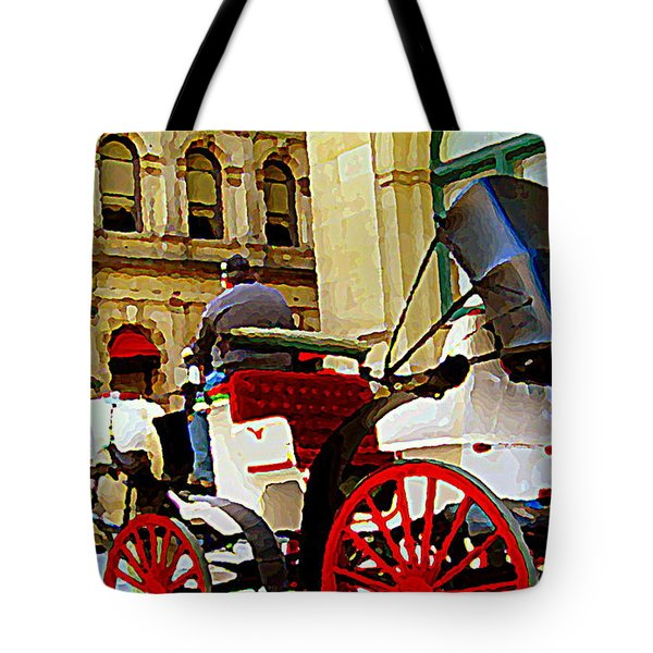 Vieux Port Caleche Scene White Horse Red Wheels Trots Along Cobbled Stones Streets Carole Spandau Tote Bag by Carole Spandau