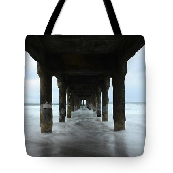 View From Below Manhattan Beach Pier Tote Bag by Bob Christopher