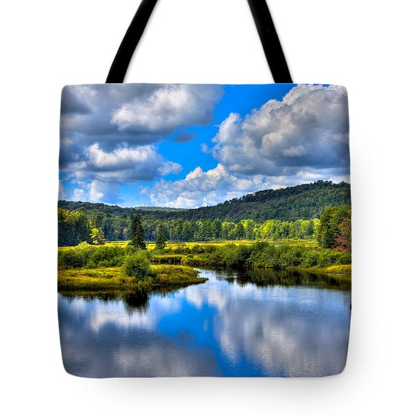 View from the Green Bridge in Old Forge NY Tote Bag by David Patterson
