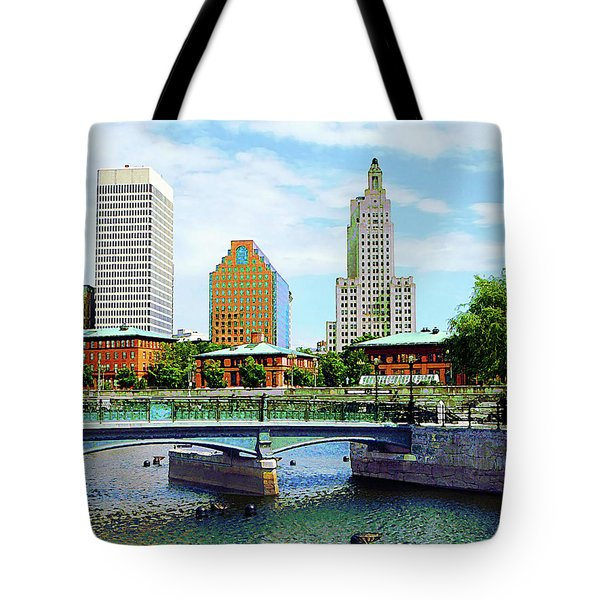 View From Waterplace Park Providence Ri Tote Bag by Susan Savad