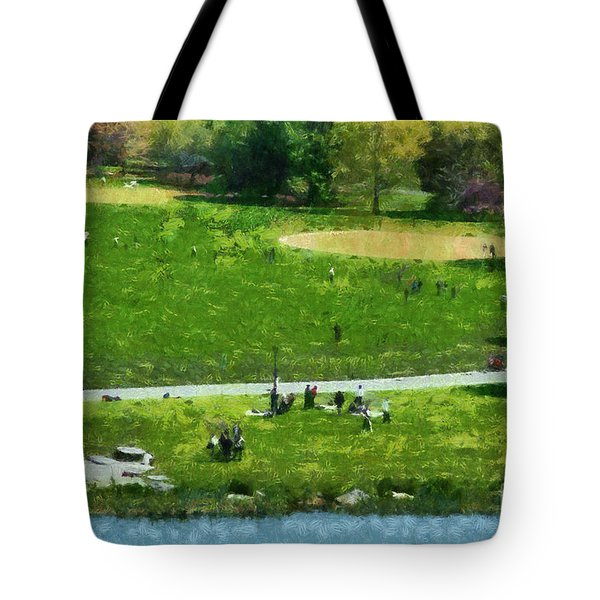 View Of Great Lawn In Central Park Tote Bag by George Atsametakis
