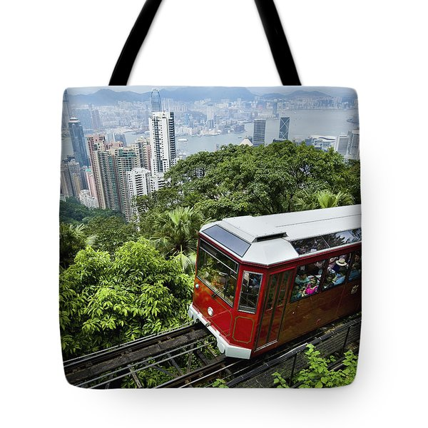 View Of Peak Tram Arriving At The Top Tote Bag by Axiom Photographic