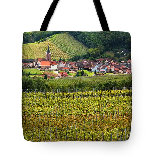 View Of Rodern From The Vineyards Of Alsace Tote Bag by Greg Matchick