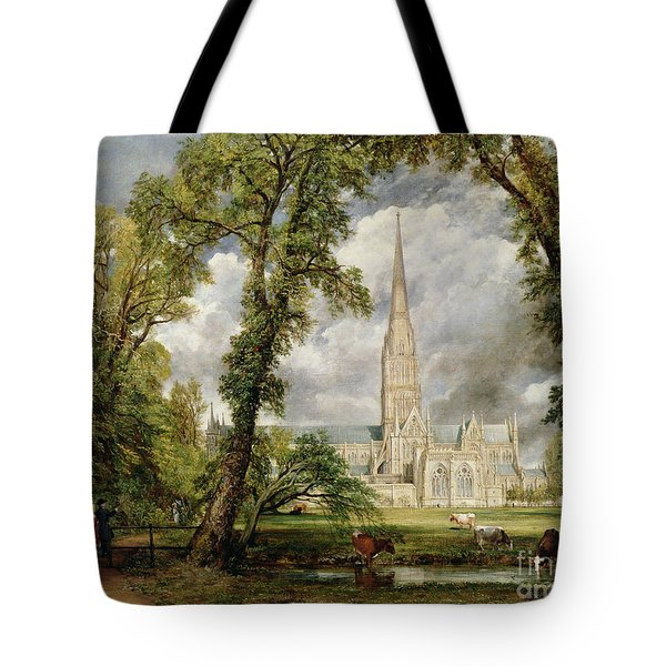 View Of Salisbury Cathedral From The Bishop's Grounds Tote Bag by John Constable