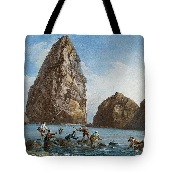View Of The Rocks On The Third Island Of Cyclops Tote Bag by Jean-Pierre-Louis-Laurent Houel