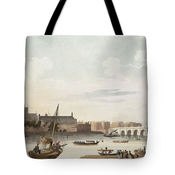 View Of Westminster And The Bridge Wc On Paper Tote Bag by English School