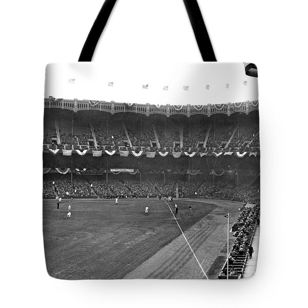 View Of Yankee Stadium Tote Bag by Underwood Archives