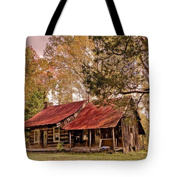 Viintage Cabin Tote Bag by Debra and Dave Vanderlaan