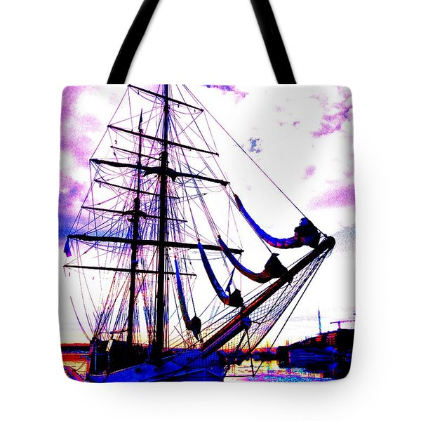vikings go sailing  Tote Bag by Hilde Widerberg
