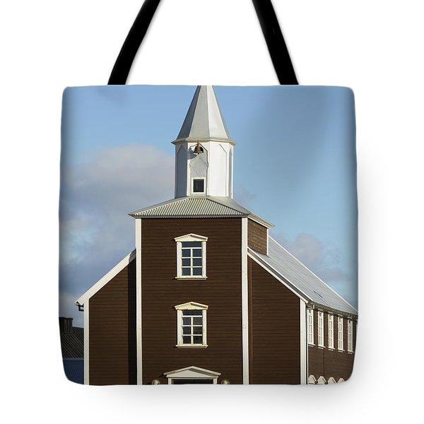 Village Church Of Eyrarbakki Tote Bag by Michael Thornton