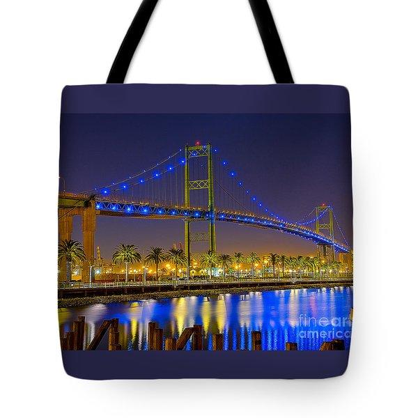 Vincent Thomas Bridge - Nightside Tote Bag by Jim Carrell