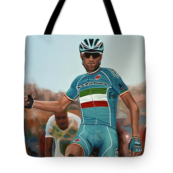 Vincenzo Nibali Painting Tote Bag by Paul Meijering