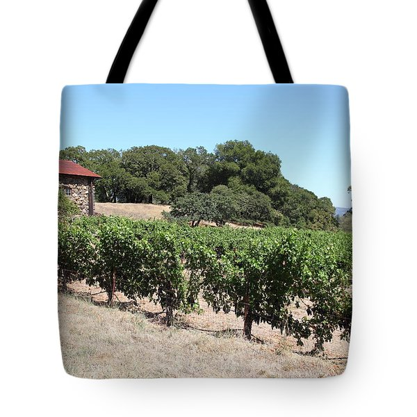 Vineyard and Stallion Barn At Historic Jack London Ranch In Glen Ellen Sonoma California 5D24579 Tote Bag by Wingsdomain Art and Photography