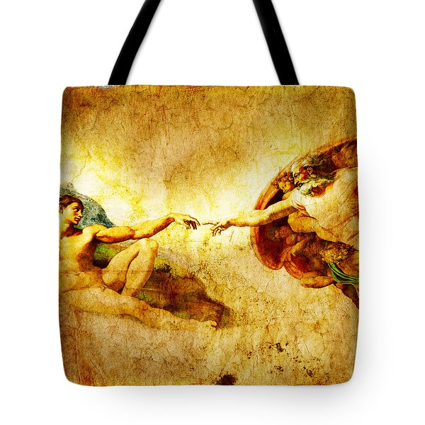Vintage Art - The Creation Of Adam Tote Bag by Stefano Senise