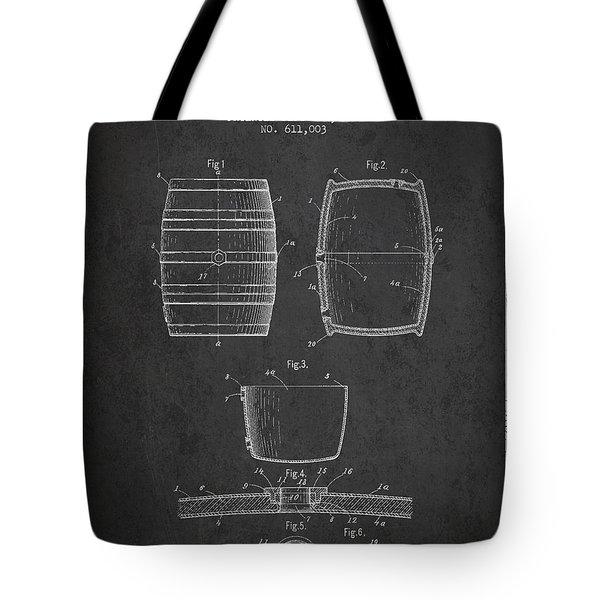 Vintage Beer Keg Patent Drawing From 1898 - Dark Tote Bag by Aged Pixel