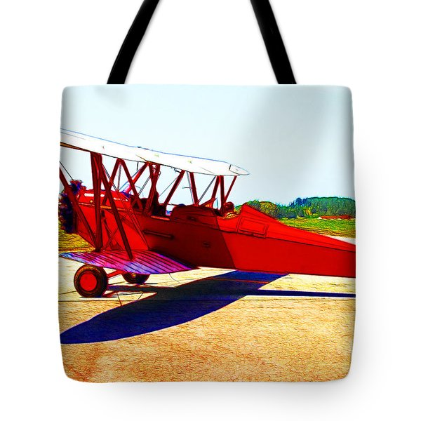 Vintage Biplane - 7d15525 - Color Sketch Style Tote Bag by Wingsdomain Art and Photography