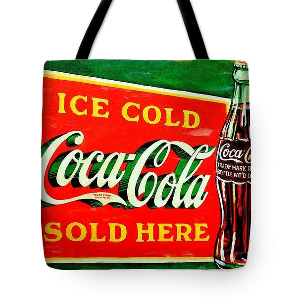 Vintage Coca-cola Sign Tote Bag by Karl Wagner