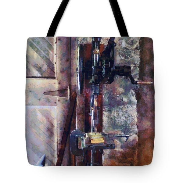 Vintage Drill Press Tote Bag by Susan Savad