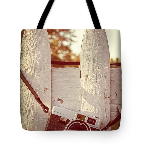 Vintage Film Camera On Picket Fence Tote Bag by Edward Fielding
