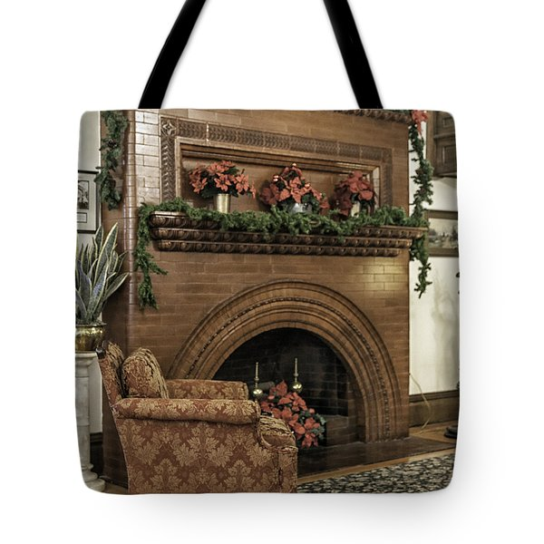 Vintage Fireplace Decorated For Christmas Tote Bag by Lynn Palmer