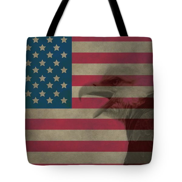 Vintage Flag With Bald Eagle Tote Bag by Dan Sproul