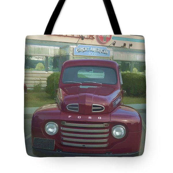 Vintage Ford Truck Outside The Tiltn Diner Tote Bag by Edward Fielding