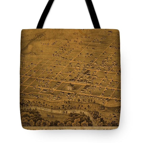Vintage Fort Worth Texas In 1876 City Map On Worn Canvas Tote Bag by Design Turnpike
