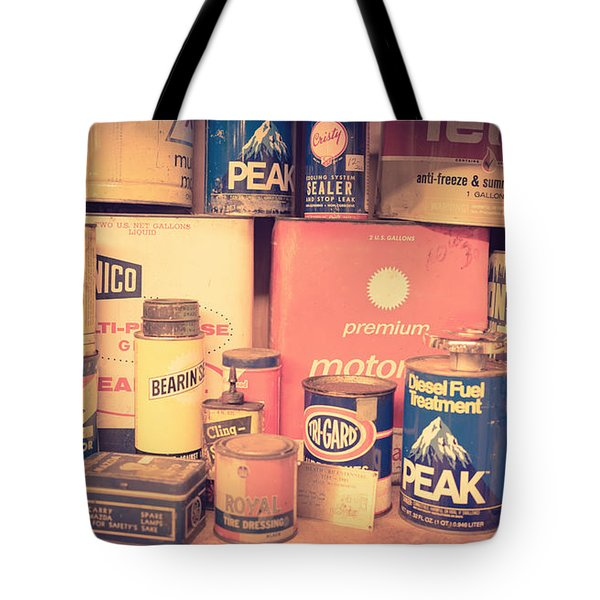 Vintage Gas Service Station Products Tote Bag by Edward Fielding