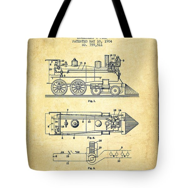 Vintage Locomotive Patent From 1904 - Vintage Tote Bag by Aged Pixel