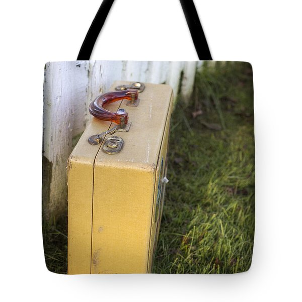 Vintage Luggage Left By A White Picket Fence Tote Bag by Edward Fielding