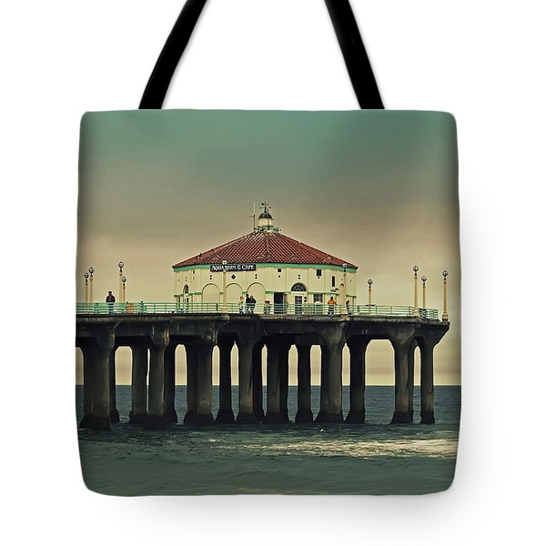 Vintage Manhattan Beach Pier Tote Bag by Kim Hojnacki