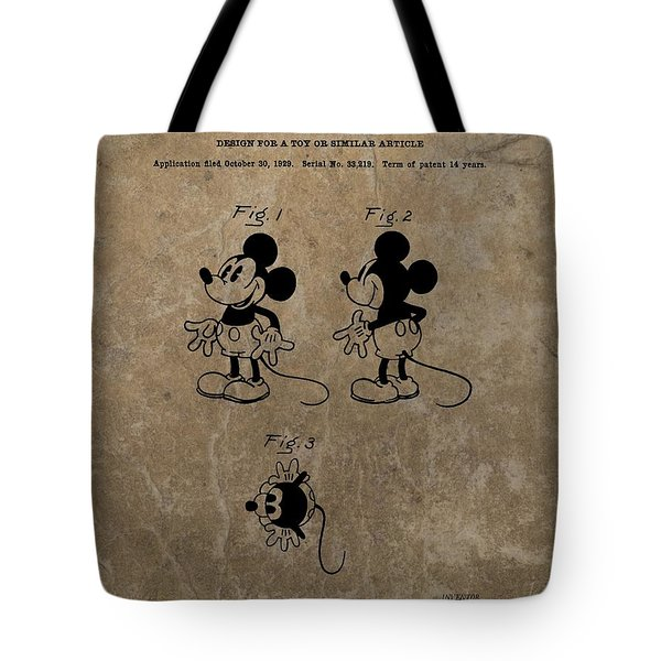 Vintage Mickey Mouse Patent Tote Bag by Dan Sproul
