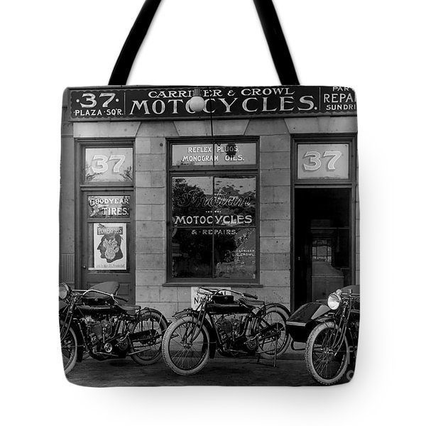 Vintage Motorcycle Dealership Tote Bag by Jon Neidert