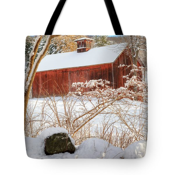 Vintage New England Barn Portrait Square Tote Bag by Bill Wakeley