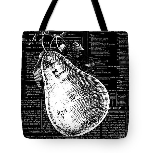 Vintage Pear On Black And White French Recipe Text Tote Bag by Anahi DeCanio