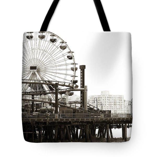 Vintage Santa Monica Pier Tote Bag by John Rizzuto