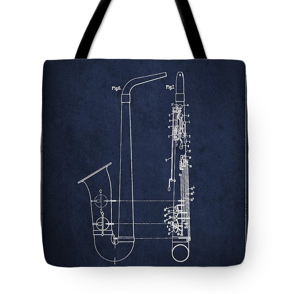 Saxophone Patent Drawing From 1899 - Blue Tote Bag by Aged Pixel