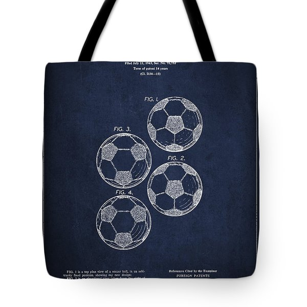 Vintage Soccer Ball Patent Drawing from 1964 Tote Bag by Aged Pixel