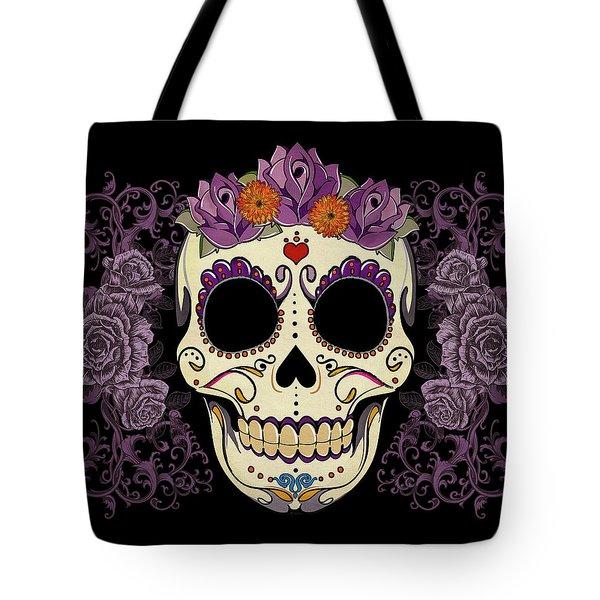 Vintage Sugar Skull And Roses Tote Bag by Tammy Wetzel