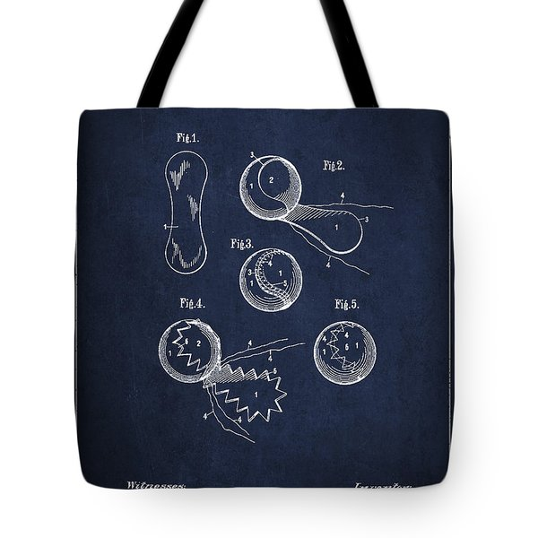 Vintage Tennis Ball Patent Drawing from 1914 Tote Bag by Aged Pixel