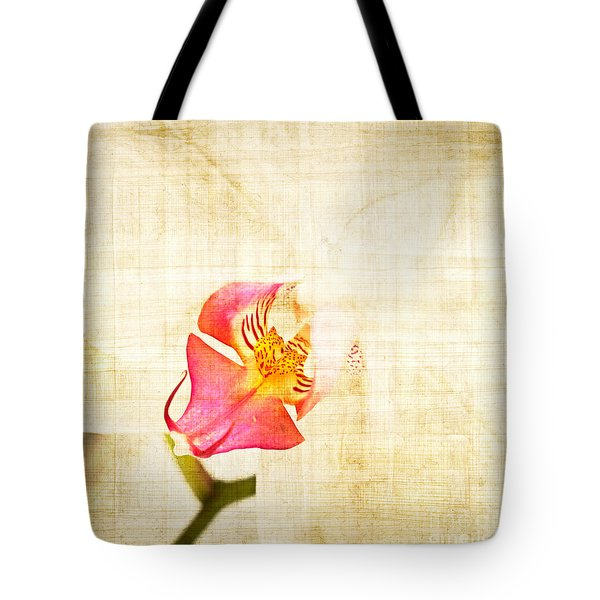 Vintage White Orchid Tote Bag by Delphimages Photo Creations