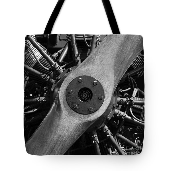 Vintage Wood Propeller - 7d15828 - Square - Black And White Tote Bag by Wingsdomain Art and Photography