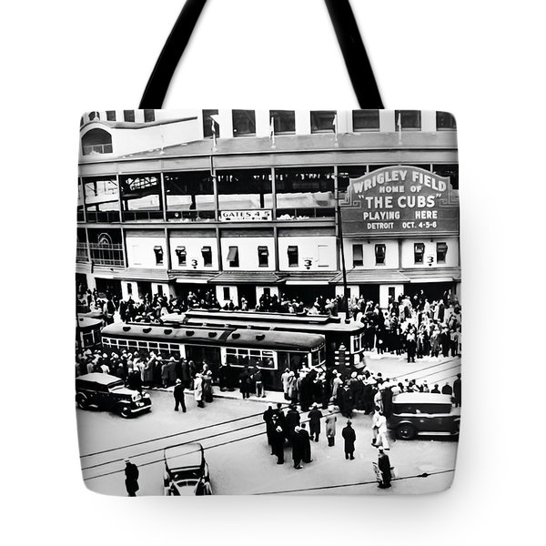 Vintage Wrigley Field Tote Bag by Bill Cannon