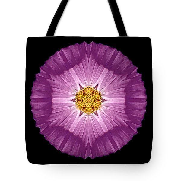 Violet Cosmos II Flower Mandala Tote Bag by David J Bookbinder