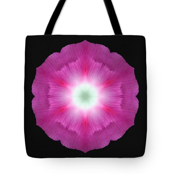 Violet Morning Glory Flower Mandala Tote Bag by David J Bookbinder