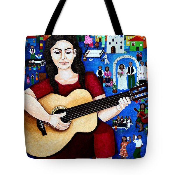 Violeta Parra And The Song Black Wedding Tote Bag by Madalena Lobao-Tello