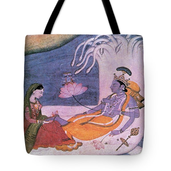 Vishnu And Lakshmi Float Across Cosmos Tote Bag by Photo Researchers