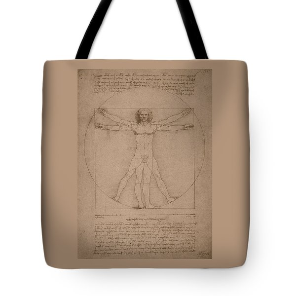 Vitruvian Man  Tote Bag by War Is Hell Store
